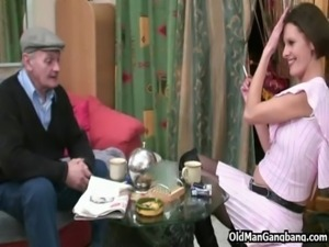 Sexy guest handles old cock free