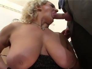 Hairy pussy granny with massive tits fucked hard