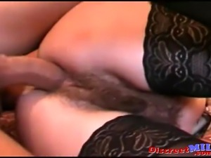 Hairy bush MILF banged by her younger boos on the floor