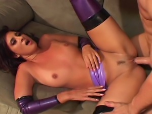 Black hair horny house wife in purple leather tops gets fucked on the...