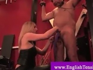 CBT by dominant mistress on usseless pet slave