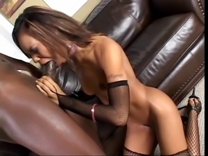 Sexy ebony with round booty gets pounded by big black cock