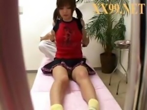 Young Oriental schoolgirl gets a hot massage then gets vibrated
