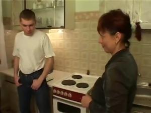 My Hairy Aunt fuck my friends on Kitchen