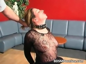 Dirty blonde brunette bitch gets tied