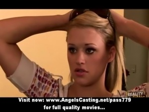 Blonde teenager with pink bra g ... free