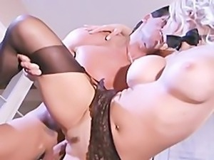 Busty secretary fucking in stockings and a garter