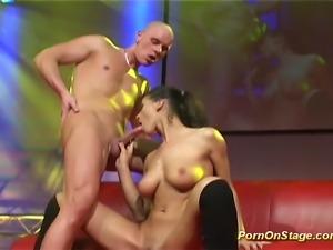 Hardcore fuck scene with brunette taking big hard cock
