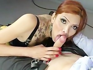 beautiful shemale makes the guy her bitch