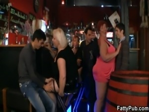 Crazy plump chicks have fun in the bar free