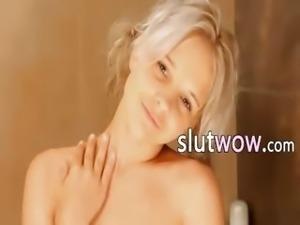 Shaving of bewitching 18yo blonde pussy
