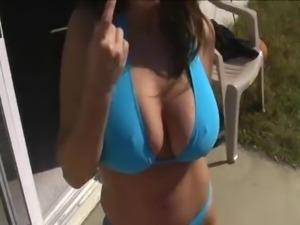 Big Tits  In Blue Bikini Sucking and Jerking Cock For Cum