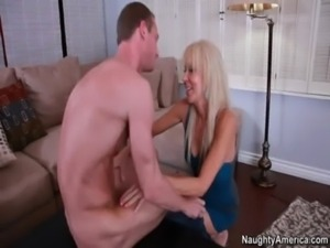 Blonde milf gives sons friend a blowjob in exchange for the paintjob he did free
