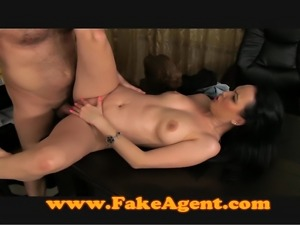 Mature brunette takes anal in casting