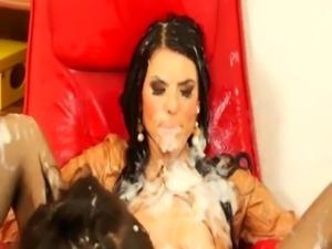 Sticky bukkake lesbians indulge free