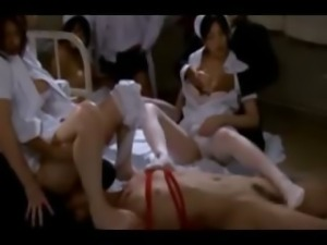 Crazy asian nurse orgy with fucking