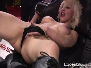 Wild blonde with hot tits takes her outfit off and exposes her hot body on...