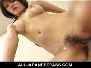 Horny guys oil down a sexy mature housewife and fill he