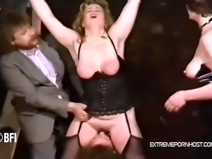 Chubby blonde from Germany gets her pussy licked by a male slave and at the...