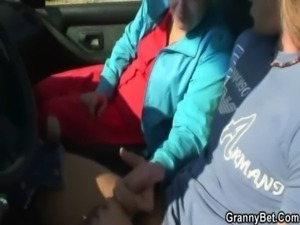 Old bitch gets nailed in the car by a stranger free