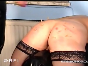 Short haired blonde mom bends over so her hubby can whip her old ass.