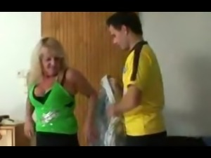 Lad picks up blonde granny and bangs her