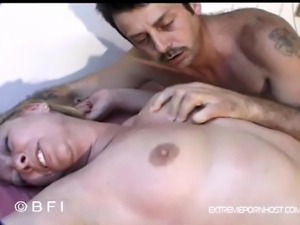 Man with mustache pinches his wife's stiff nipples then ties her up with...
