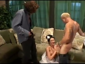 Runaway bride fucked by two guys