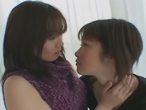 Sensual Japanese Lesbian Kissing.