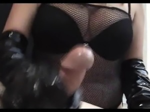 Femdom Handjob Hot Blonde In Leather Gloves