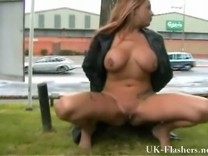 Busty amateur wife pisses in public and flashes the streets with crazy MILF...