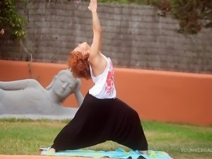 yoga lessons with a superb redhead