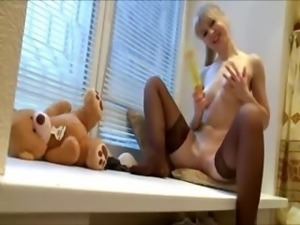 Ultra fetching lingerie and huge dildo