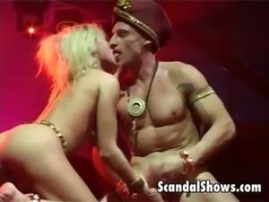 Wild blonde striper giving a blowjob free