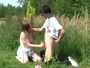Busty pale teenager fucked outdoors