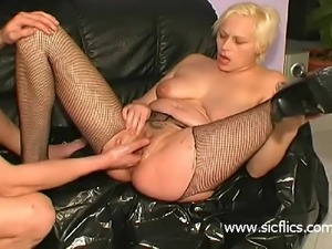 Nasty slut fisted and foot fucked in her loose bucket c