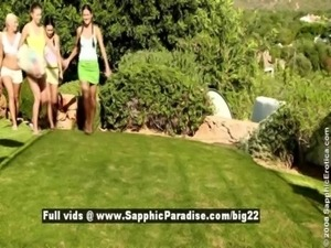 Deny and Iris and Juliette and Devin, cute lesbian babes have fourway orgy...