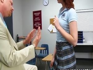 Redhead schoolgirl spanked then fucked