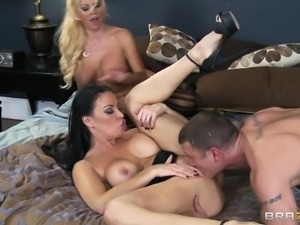 two busty milfs get a hard fucking from one stud