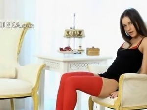 brunet in red riding sexy toy
