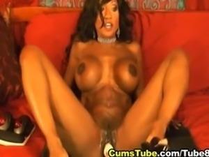 Busty Ebony Babe Toying her Pussy HD