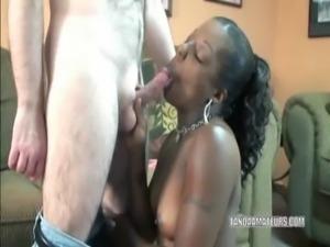Ebony slut Anastasia is sucking cock free