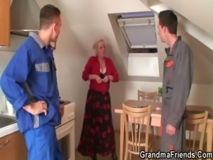 Old widow services two repairmen free