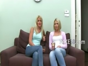 Fake agent banging with two blonde girls