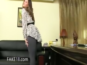 Fake agent having fuck on leather couch