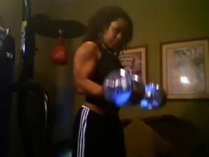 Sexy FBB Muscle Girl Working Out - Ameman
