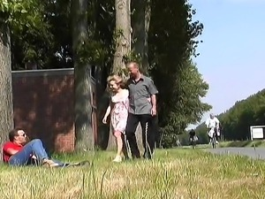 Sexy Russian Krista meets two men in park and they go home for a good fucking...