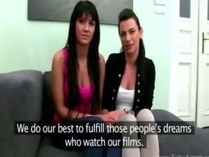 Casting audition of two skinny raven babes free