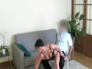 Horny brunette girl bang on the chair