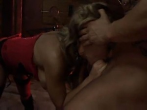 Female slave serves her Master sucking his cock and getting fucked by her Master